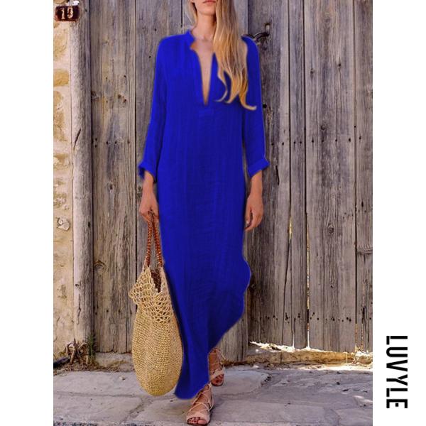 Blue Split Neck Plain Maxi Dress Blue Split Neck Plain Maxi Dress
