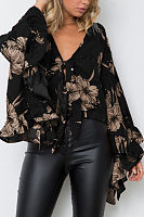 Deep V Neck  Bowknot  Floral Printed  Bell Sleeve  Blouses