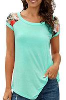 Round Neck Patchwork Floral Short Sleeve T-shirt