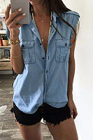 Denim Turn Down Collar  Single Breasted Shirts
