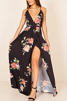 Spaghetti Strap  Backless High Slit  Floral  Sleeveless Maxi Dresses