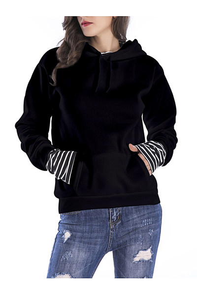 Drawstring Kangaroo Pocket Striped Hoodie