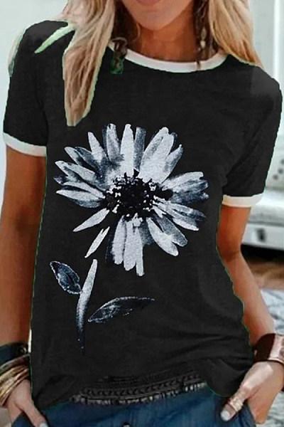 Flower Round Neck Casual T-shirt