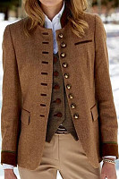 Women Single Breasted Plain Jacket