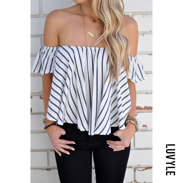 White Off Shoulder Striped Bell Sleeve T-Shirts White Off Shoulder Striped Bell Sleeve T-Shirts