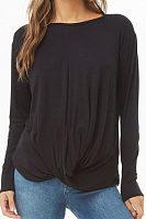 Round Neck Long Sleeve Pleated T-Shirts