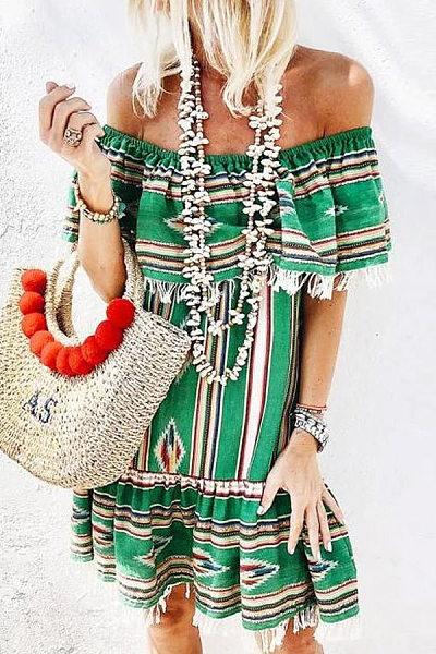 Bohemian Word-Lined Ruffled Tassel Print Vacation Dress