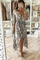 V Neck Ruffles Snake Printed Maxi Dresses