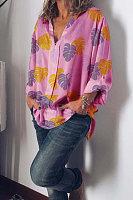Casual Leaf Print Loose Sleeve Shirt