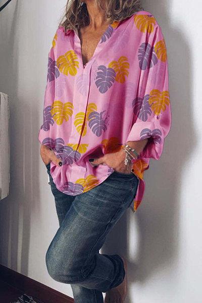 Casual Leaf Print Loose Sleeve Shirt