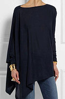 Round  Neck  Patchwork  Casual  Plain Loose Fitting Long Sleeve  T-Shirt