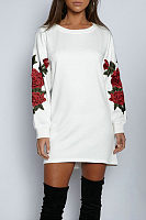 Round Neck  Patchwork  Embroidery  Long Sleeve Casual Dresses