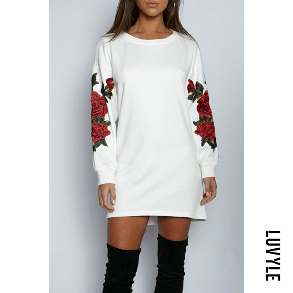 White Round Neck Patchwork Embroidery Long Sleeve Casual Dresses White Round Neck Patchwork Embroidery Long Sleeve Casual Dresses