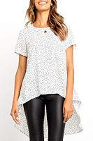 Round Neck  Asymmetric Hem  Printed T-Shirts