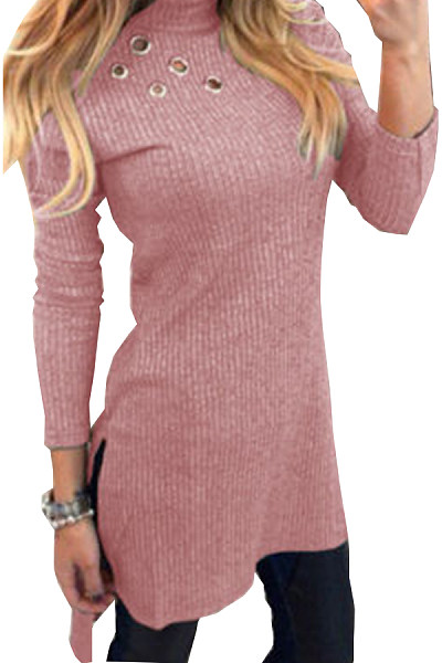 High Neck  Asymmetric Hem Side Vented  Plain Sweaters