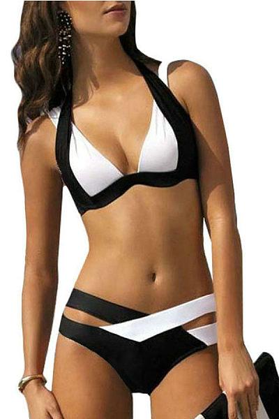 Spaghetti Strap  Patchwork Bikini