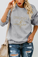 Round Neck  Loose Fitting  Letters  Sweatshirts