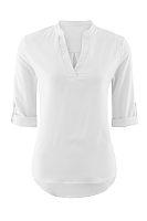V Neck Asymmetric Hem Plain Long Sleeve Shirts