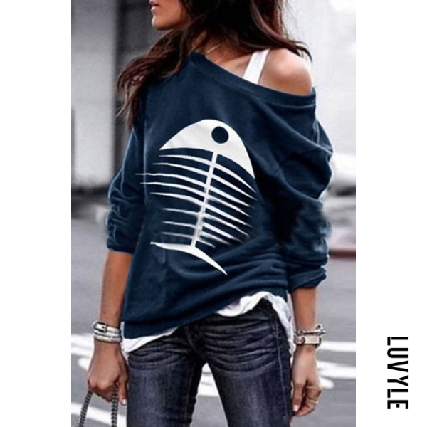 Blue Casual Colouring Long Sleeve T-Shirt Blue Casual Colouring Long Sleeve T-Shirt