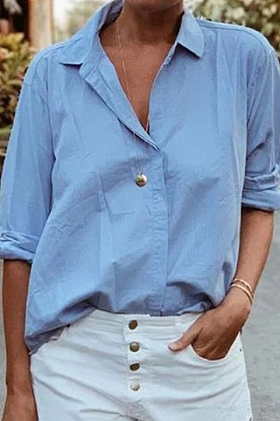 A Lapel Plain Loose-Fitting Casual Blouses