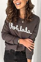 Women's fashion round neck print long sleeve sweatershirt