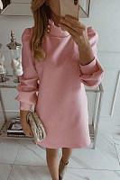 Short High Collar Plain Casual Dress