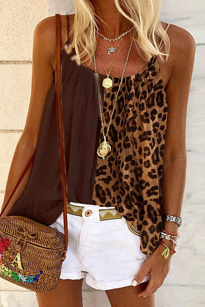 Casual Stitching Leopard Camisole Top