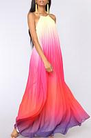High Neck  Gradient  Sleeveless Maxi Dresses
