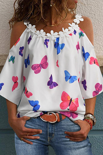 Butterfly Printed Open Shoulder Collar Top