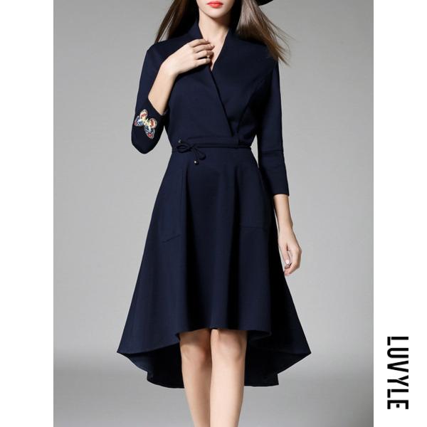 Dark Blue V-Neck Drawstring Plain High-Low Skater Dress Dark Blue V-Neck Drawstring Plain High-Low Skater Dress