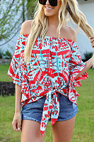 Off Shoulder  Single Breasted  Tie Dye  Blouses