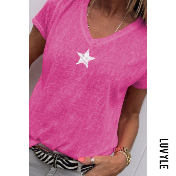 Pink Star Printed V Neck Short Sleeve Casual T-Shirts Pink Star Printed V Neck Short Sleeve Casual T-Shirts