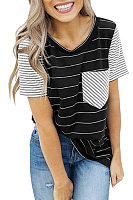 Round Neck  Kangaroo Pocket  Striped T-Shirts