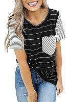 Round Neck  Kangaroo Pocket  Striped T-Shirts