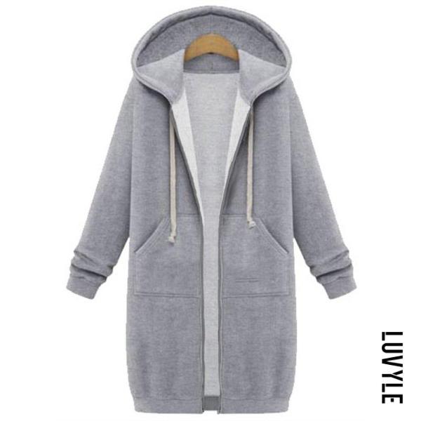Light Gray Fashion Long Sleeve Loose Hoodie Coat Light Gray Fashion Long Sleeve Loose Hoodie Coat