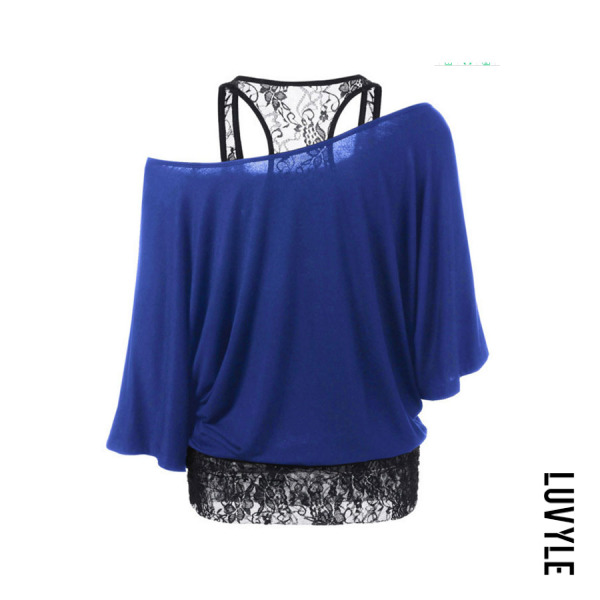 Blue One Shoulder Lace Batwing Sleeve T-Shirts Blue One Shoulder Lace Batwing Sleeve T-Shirts