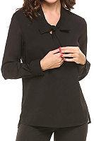 Tie Collar Patchwork  Elegant  Plain  Long Sleeve  Blouse