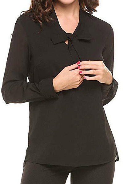 Tie Collar Patchwork  Elegant  Plain  Long Sleeve  Blouse