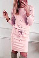 Round Neck  Plain  Long Sleeve Bodycon Dresses