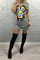 V Neck  Animal Prints  Short Sleeve Casual Dresses