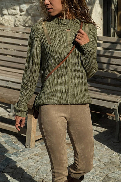 Stylish And Comfortable Solid Color Round Neck Hollow Pullover Sweater