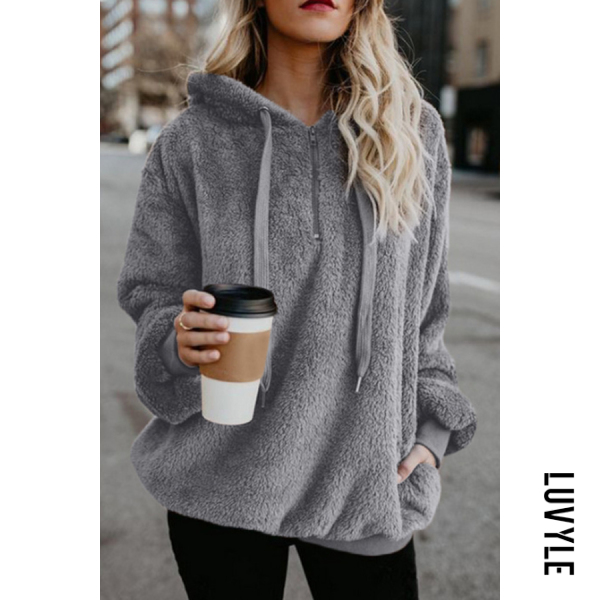 Gray Hooded Polyester Casual Plain Hoodies Gray Hooded Polyester Casual Plain Hoodies