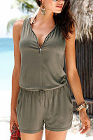 V Neck  Zipper  Belt  Plain  Sleeveless  Playsuits