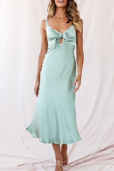 Spaghetti Strap  Lace Up Zipper  Plain  Sleeveless Maxi Dresses