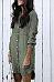 Turn Down Collar  Asymmetric Hem Single Breasted  Plain  Long Sleeve Casual Dresses