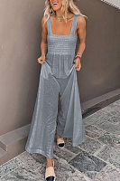 Solid Color Wide Leg Jumpsuit