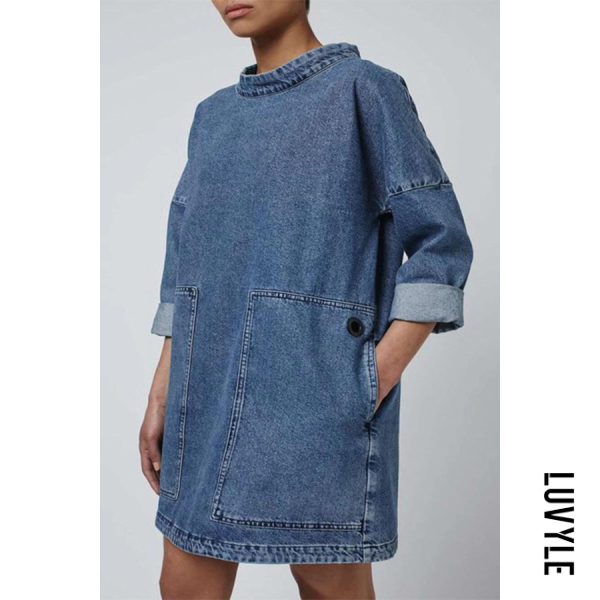 Casual solid color pocket round neck loose denim top - from $27.00