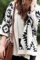 Snap Front  Abstract Print Cardigans