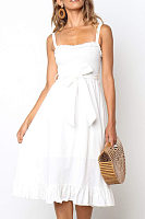 Spaghetti Strap  Belt  Sleeveless Maxi Dresses