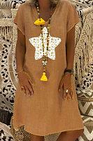 V Neck Short Sleeve Star Casual Dress